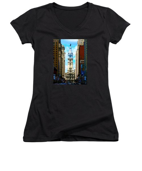 Women's V-Neck T-Shirt (Junior Cut) featuring the photograph Philadelphia by Christopher Woods