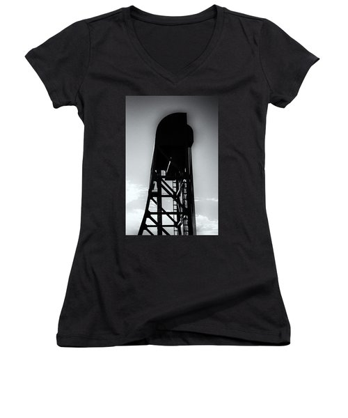 Broadway Bridge North Tower Monochrome Women's V-Neck (Athletic Fit)