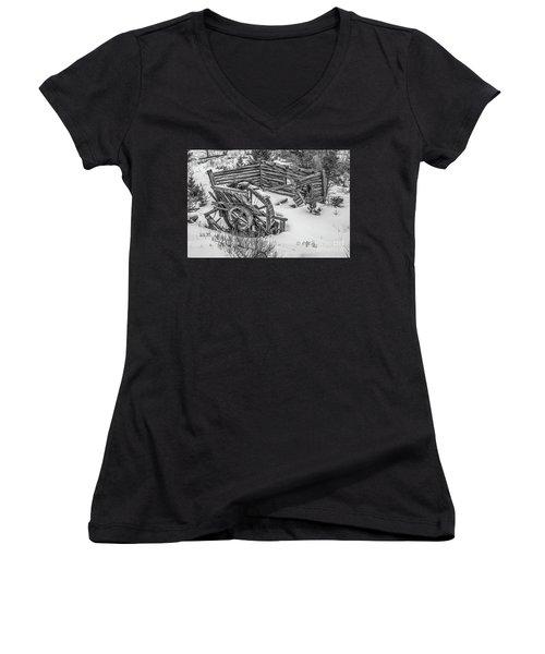 Broken Water Wheel Women's V-Neck T-Shirt (Junior Cut) by Sue Smith
