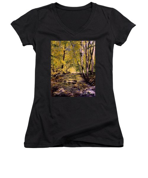 Brook In Stowe Vermont Women's V-Neck T-Shirt (Junior Cut) by Laurie Rohner