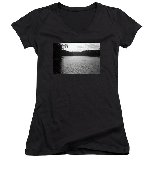 Women's V-Neck T-Shirt (Junior Cut) featuring the photograph Brookfield, Vt - Swimming Hole Bw 2 by Frank Romeo