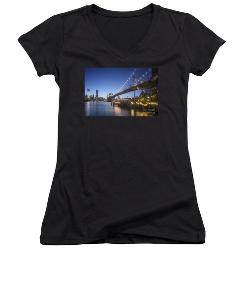 Women's V-Neck featuring the photograph Brooklyn Brdige New York  by Juergen Held
