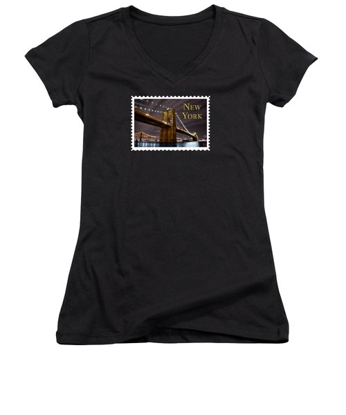 Brooklyn Bridge At Night New York City Text Women's V-Neck T-Shirt (Junior Cut) by Elaine Plesser