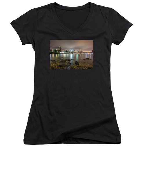 Brooklyn Bridge At Sunrise  Women's V-Neck (Athletic Fit)
