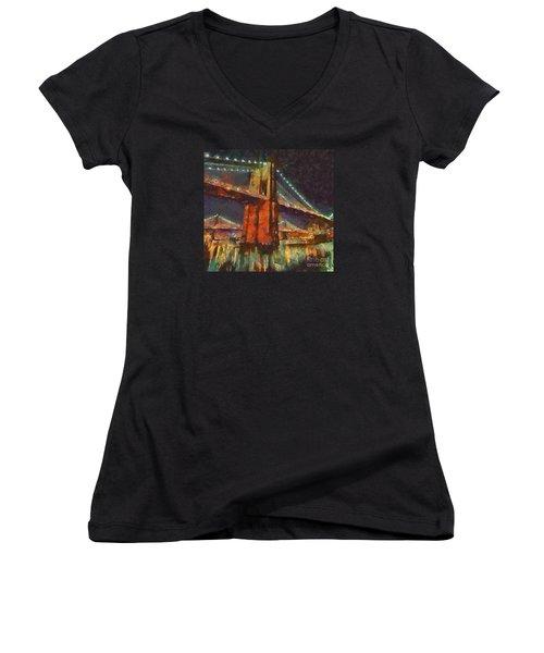 Brooklyn Bridge Women's V-Neck T-Shirt (Junior Cut)