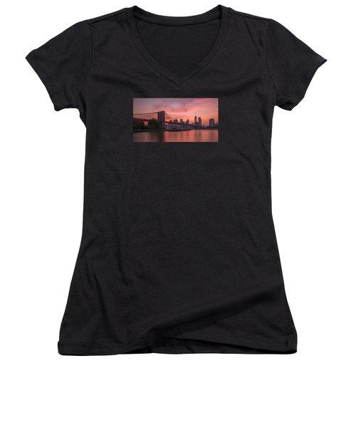 Brooklyn Bridge Sunset Women's V-Neck T-Shirt (Junior Cut) by Scott McGuire