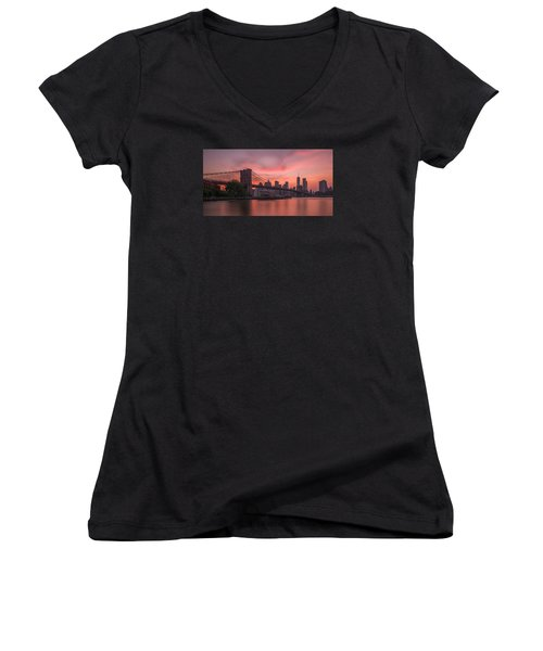 Brooklyn Bridge Sunset Women's V-Neck (Athletic Fit)