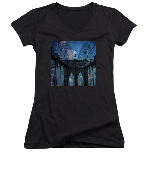 Women's V-Neck T-Shirt (Junior Cut) featuring the photograph Brooklyn Bridge Webs by Chris Lord