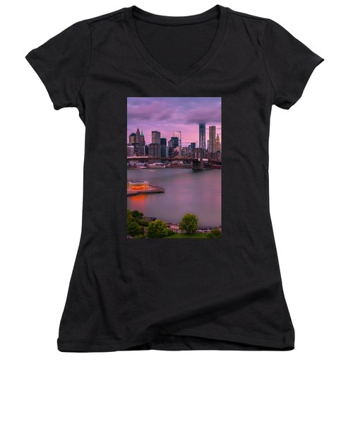Women's V-Neck T-Shirt (Junior Cut) featuring the photograph Brooklyn Bridge World Trade Center In New York City by Ranjay Mitra