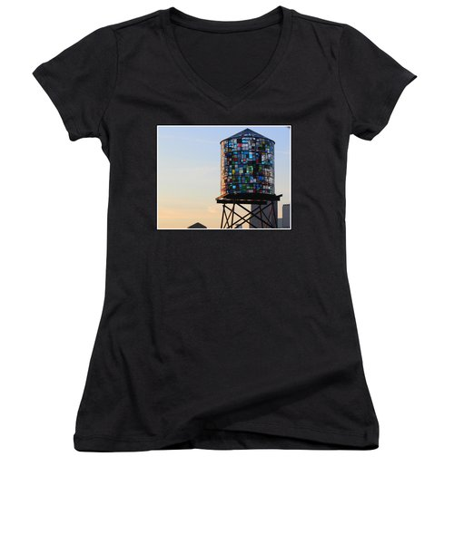 Brooklyn's Glowing Glass Water Tower - Public Art Women's V-Neck (Athletic Fit)