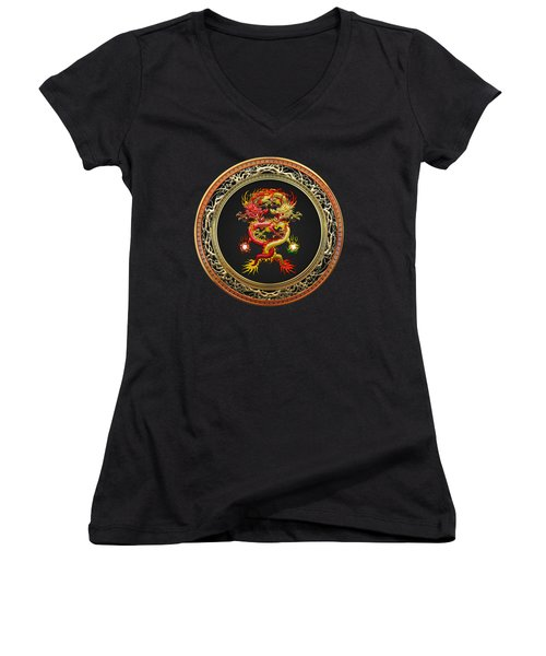 Brotherhood Of The Snake - The Red And The Yellow Dragons On Black Velvet Women's V-Neck T-Shirt (Junior Cut) by Serge Averbukh