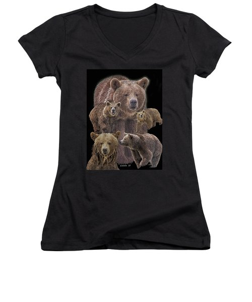 Brown Bears 8 Women's V-Neck (Athletic Fit)