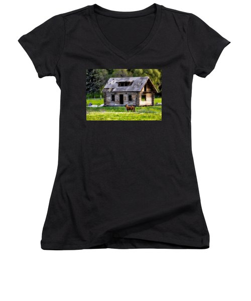 Brown Horse And Old Log Cabin Women's V-Neck (Athletic Fit)