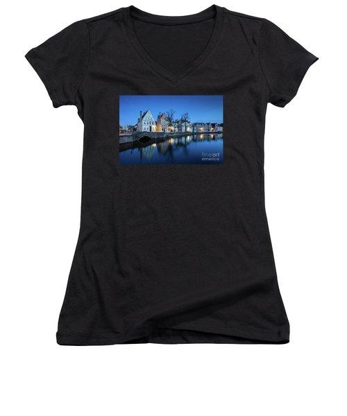 Magical Brugge Women's V-Neck T-Shirt (Junior Cut) by JR Photography