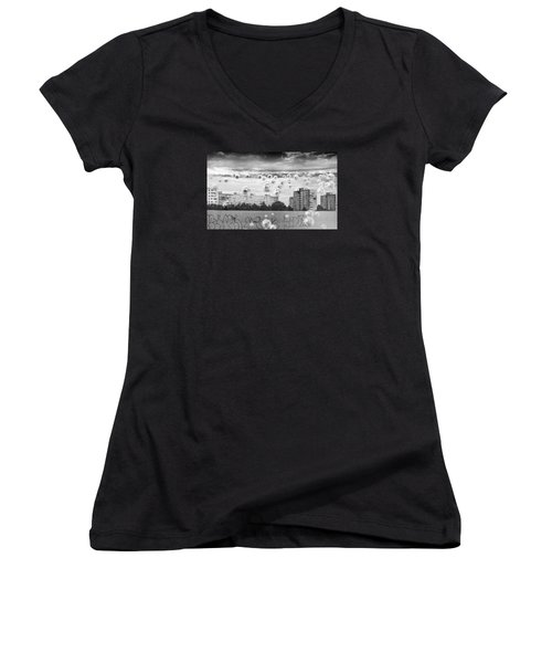 Bubbles And The City Women's V-Neck T-Shirt (Junior Cut) by John Williams