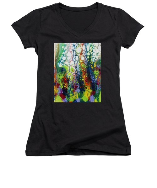 Women's V-Neck featuring the painting Bubbles by Vicki Winchester