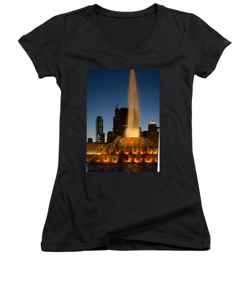 Night Time At Buckingham Fountain Women's V-Neck (Athletic Fit)