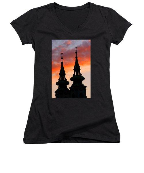 Women's V-Neck T-Shirt (Junior Cut) featuring the photograph Budapest Sunset by KG Thienemann