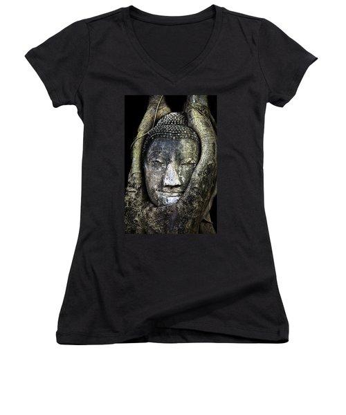 Buddha Head In Banyan Tree Women's V-Neck