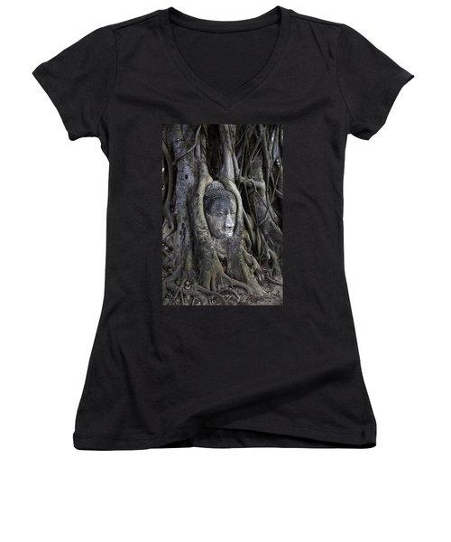 Buddha Head In Tree Women's V-Neck T-Shirt (Junior Cut) by Adrian Evans