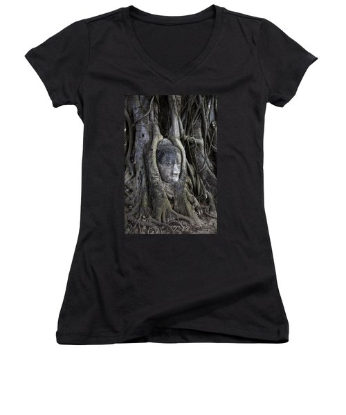 Buddha Head In Tree Women's V-Neck (Athletic Fit)