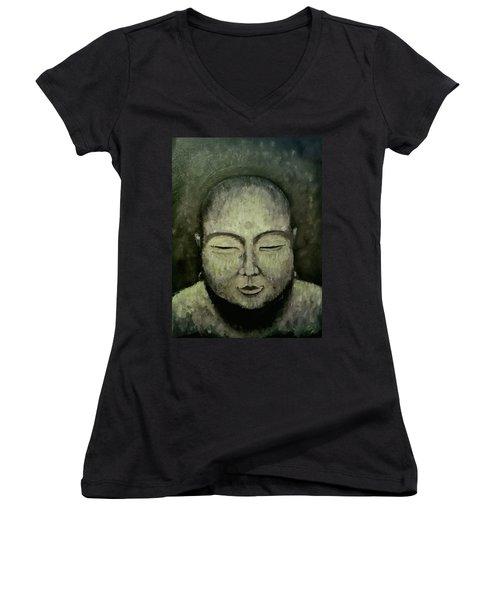 Buddha In Green Women's V-Neck