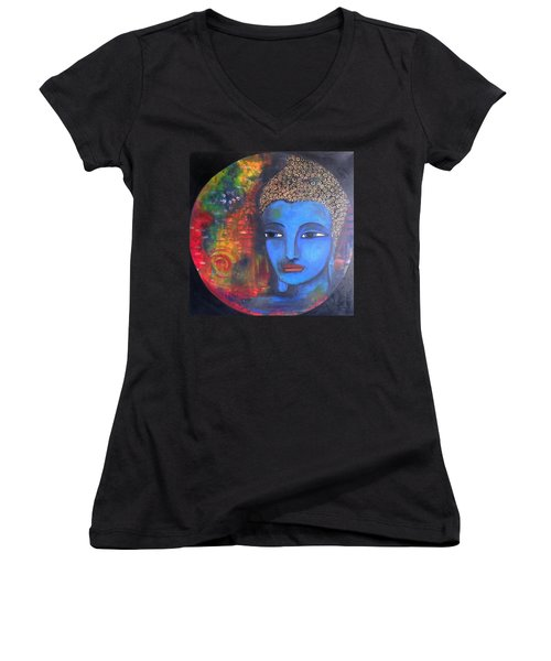 Buddha Within A Circular Background Women's V-Neck T-Shirt