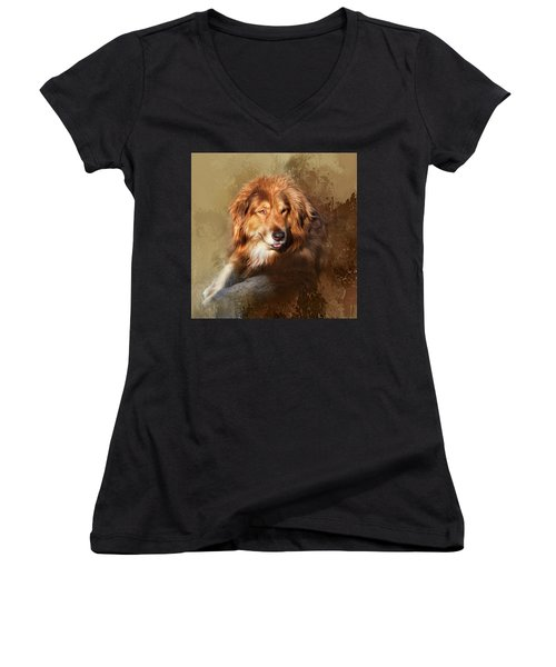 Women's V-Neck T-Shirt (Junior Cut) featuring the photograph Buddy by Theresa Tahara