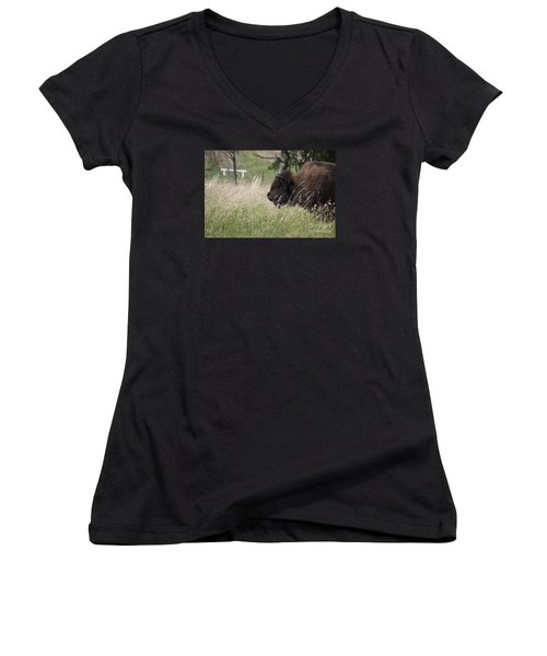 Women's V-Neck T-Shirt (Junior Cut) featuring the photograph Buffalo Gal 20120724_378a by Tina Hopkins