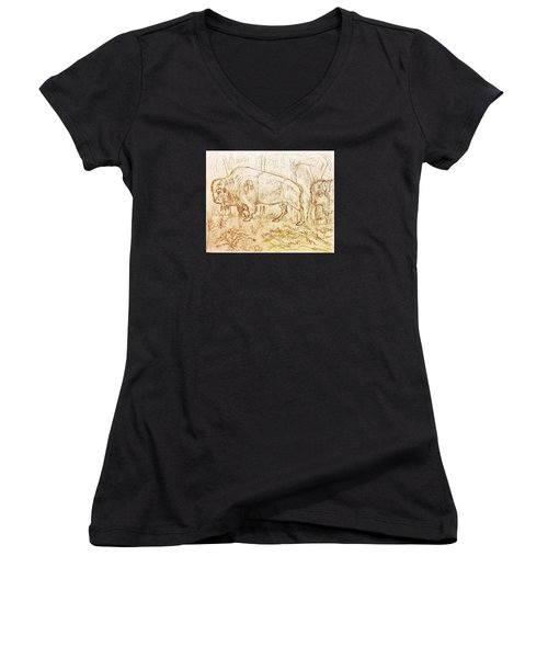 Buffalo Trail  Women's V-Neck T-Shirt (Junior Cut) by Larry Campbell
