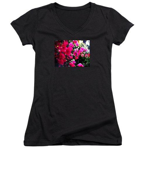 Bugambilia Women's V-Neck T-Shirt (Junior Cut) by Vanessa Palomino