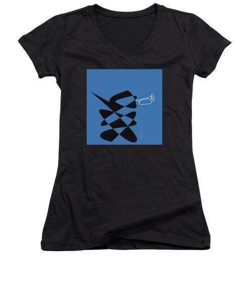 Bugle In Blue Women's V-Neck T-Shirt (Junior Cut) by David Bridburg