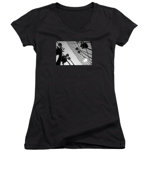 Building On Hollywood 3 Women's V-Neck T-Shirt (Junior Cut) by Micah May