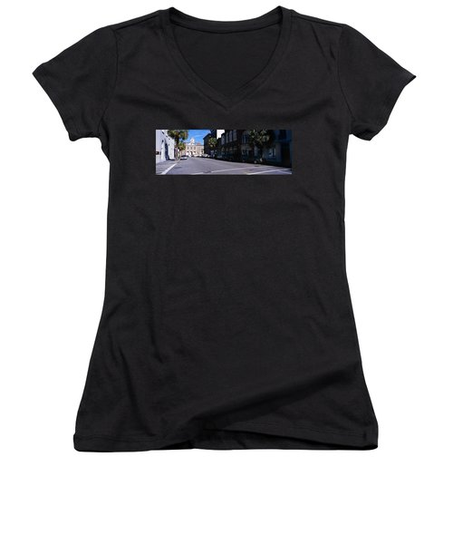 Buildings On Both Sides Of A Road Women's V-Neck (Athletic Fit)