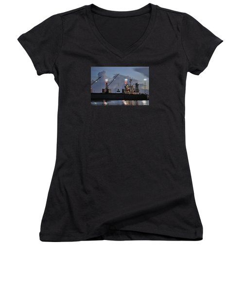 Women's V-Neck T-Shirt (Junior Cut) featuring the photograph Bulk Cargo Carrier Loading At Dusk by Bradford Martin
