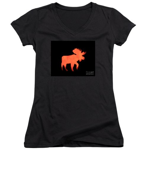 Bull Moose Pumpkin Women's V-Neck (Athletic Fit)