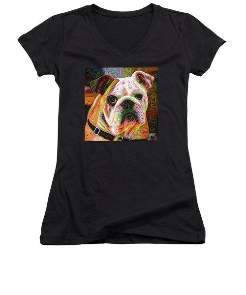 Bulldog Surreal Deep Dream Image Women's V-Neck T-Shirt (Junior Cut) by Matthias Hauser
