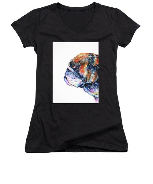 Women's V-Neck T-Shirt featuring the painting Bulldog by Zaira Dzhaubaeva