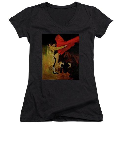 Women's V-Neck T-Shirt (Junior Cut) featuring the painting Bullfighter By Mary Krupa by Bernadette Krupa