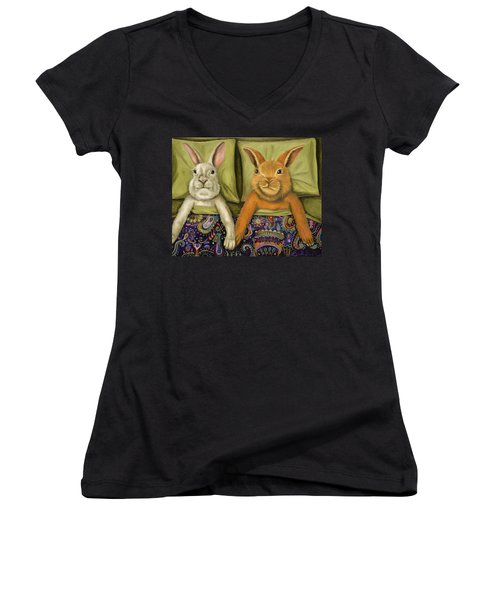 Women's V-Neck T-Shirt (Junior Cut) featuring the painting Bunny Love by Leah Saulnier The Painting Maniac