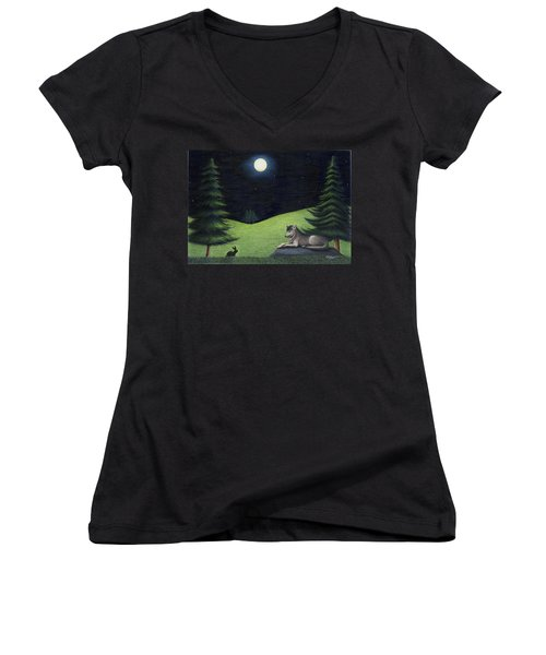 Bunny Visits Wolf Women's V-Neck (Athletic Fit)