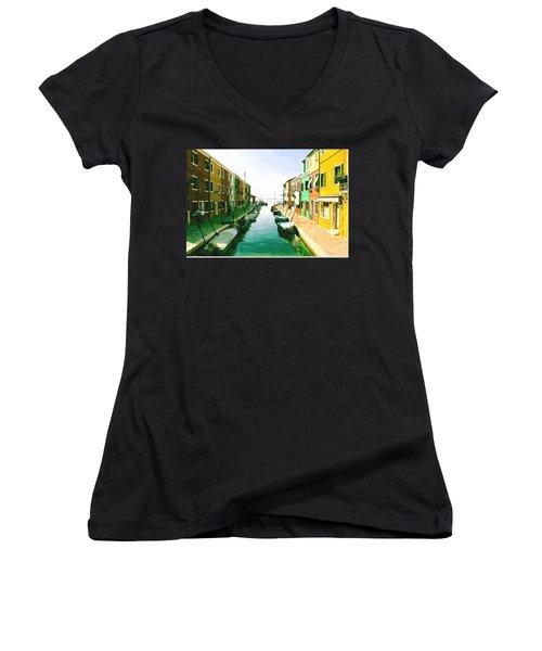 Women's V-Neck T-Shirt (Junior Cut) featuring the digital art Burano Venice by Kai Saarto