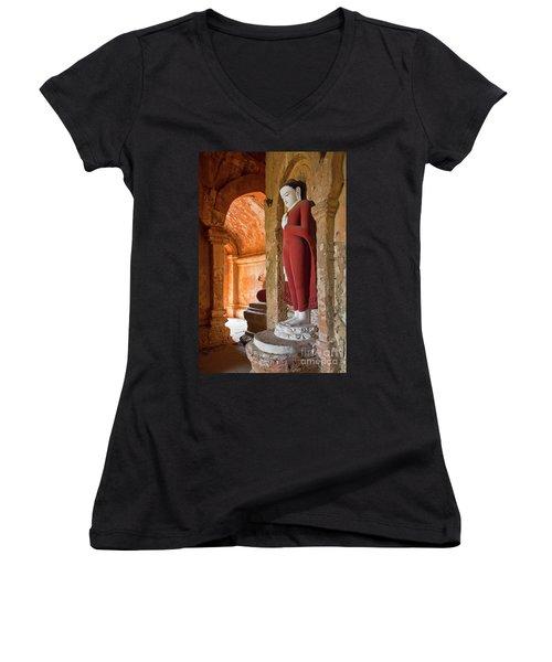 Women's V-Neck T-Shirt (Junior Cut) featuring the photograph Burma_d2280 by Craig Lovell