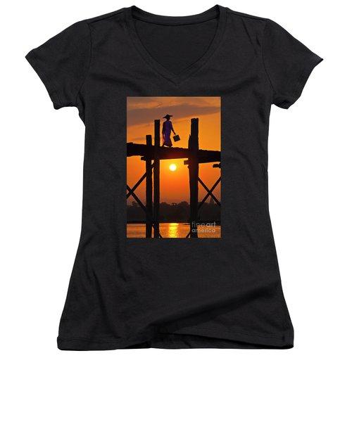 Women's V-Neck T-Shirt (Junior Cut) featuring the photograph Burma_d807 by Craig Lovell