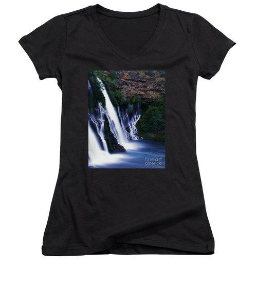 Burney Blues Women's V-Neck T-Shirt (Junior Cut) by Peter Piatt