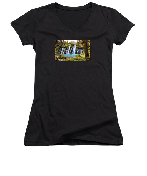 Women's V-Neck T-Shirt (Junior Cut) featuring the photograph Burney Falls by Jason Abando