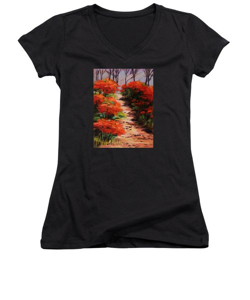 Women's V-Neck T-Shirt (Junior Cut) featuring the painting Burning Bush Along The Lane by John Williams
