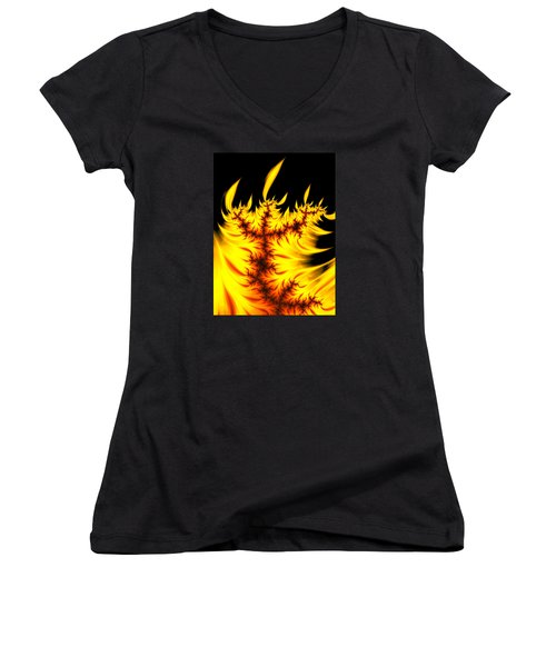 Women's V-Neck featuring the digital art Burning Fractal Flames Warm Yellow And Orange by Matthias Hauser