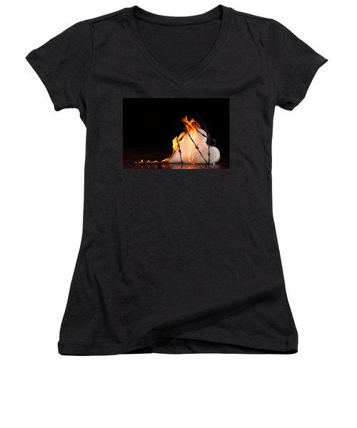 Burning Love Women's V-Neck T-Shirt (Junior Cut) by Yvette Van Teeffelen
