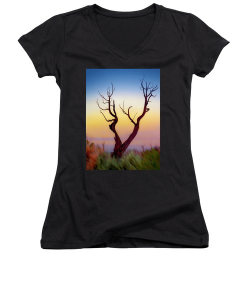 Burnt Cedar At Sunset Women's V-Neck (Athletic Fit)